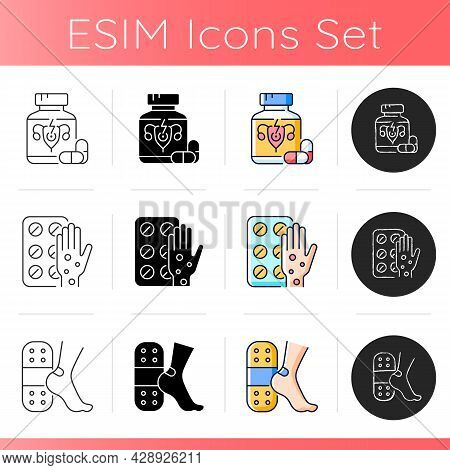 Medication Options Icons Set. Relieve Painful Menstruation. Antihistamine Medication. Patches For Bl