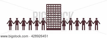 Pictograph Of People. Men And Women Holding Hands. United Community Of People Who Live In The Same H