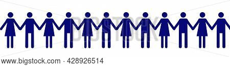 Pictograph Of Men. Men And Women Holding Hands. United Community Of People With The Same Interests.