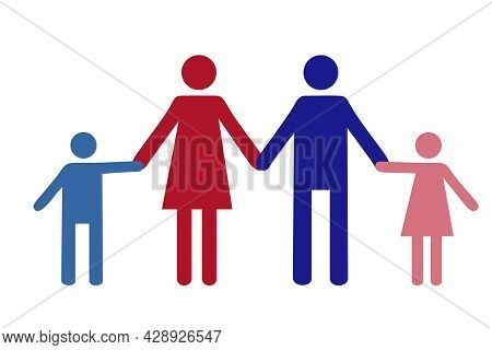 Pictograph Of People. Flat Icon Modern Family. Father, Mother And Children Holding Hands. Icon Of Tr