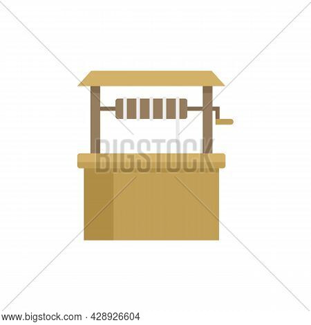 Wood Water Well Icon. Flat Illustration Of Wood Water Well Vector Icon Isolated On White Background