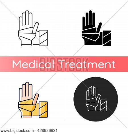 Medical Bandage Icon. Bandaged Hand. Sterile Wound Dressing. Stop Bleeding. Medical Gauze. Supportin