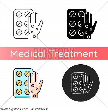Pills For Allergy Icon. Antihistamine Medication. Relieve Allergy Symptoms. Allergic Rhinitis Treatm