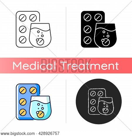 Effervescent Tablet For Cold Relief Icon. Cough-and-cold Medication. Dissolve In Liquid. Relieve Flu