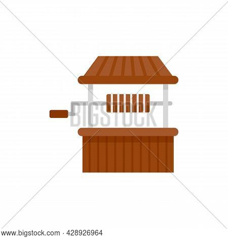 Village Water Well Icon. Flat Illustration Of Village Water Well Vector Icon Isolated On White Backg