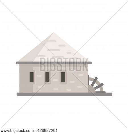 Building Water Mill Icon. Flat Illustration Of Building Water Mill Vector Icon Isolated On White Bac