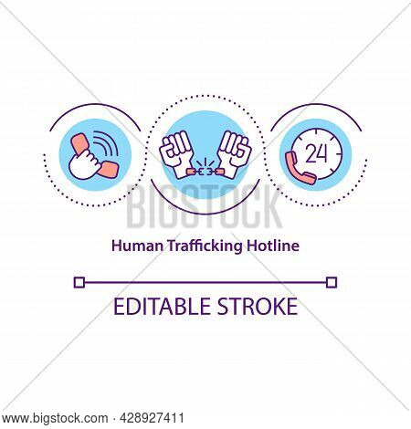 Human Trafficking Hotline Concept Icon. Helpline For Kidnap Victims Abstract Idea Thin Line Illustra