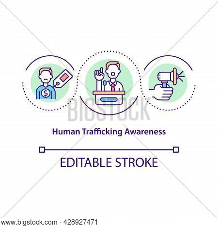 Human Trafficking Awareness Concept Icon. Prevent Kidnapping And Human Trade Abstract Idea Thin Line