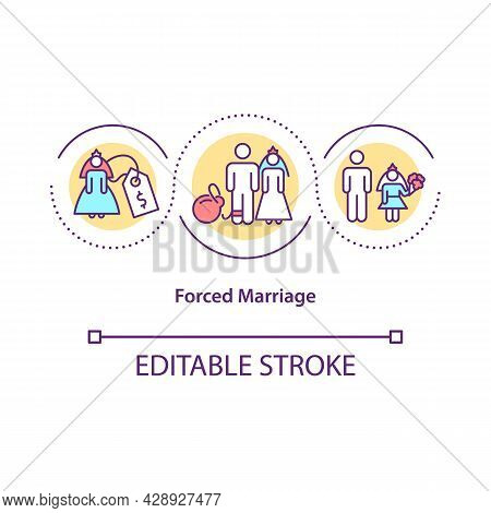 Forced Marriage Concept Icon. Marriage Against Will Or Without Consent Abstract Idea Thin Line Illus