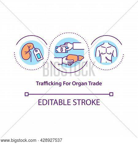 Trafficking For Organ Trade Concept Icon. Black Market Organ Selling Abstract Idea Thin Line Illustr
