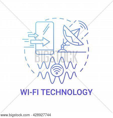 Wi-fi Technology Gradient Blue Concept Icon. Radio Signal Abstract Idea Thin Line Illustration. Set