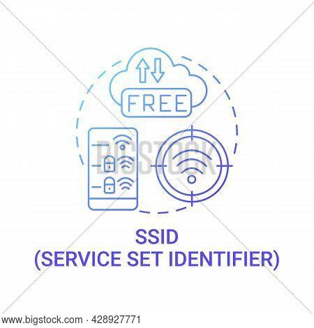 Set Service Identifier Gradient Blue Concept Icon. Unique Name Of Network Abstract Idea Thin Line Il