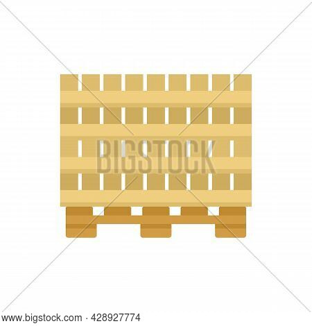 Wood Pallet Icon. Flat Illustration Of Wood Pallet Vector Icon Isolated On White Background