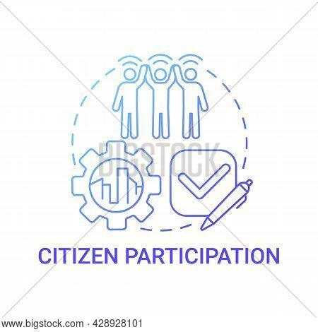 Citizen Participation Gradient Blue Concept Icon. Citizens Involvement Abstract Idea Thin Line Illus