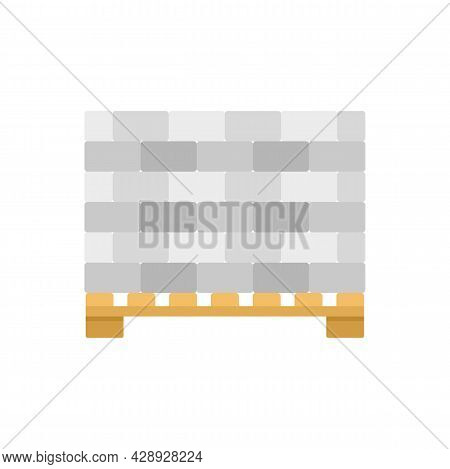 Stone Bricks On Pallet Icon. Flat Illustration Of Stone Bricks On Pallet Vector Icon Isolated On Whi