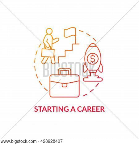 Starting A Career Red Concept Icon. Professional Growth. Financial Increment And Stability. Career D