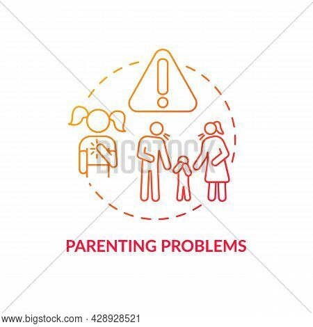 Parenting Problem Red Concept Icon. Hurt Feelings. Children Suffer From Adults. Arguing Parents And