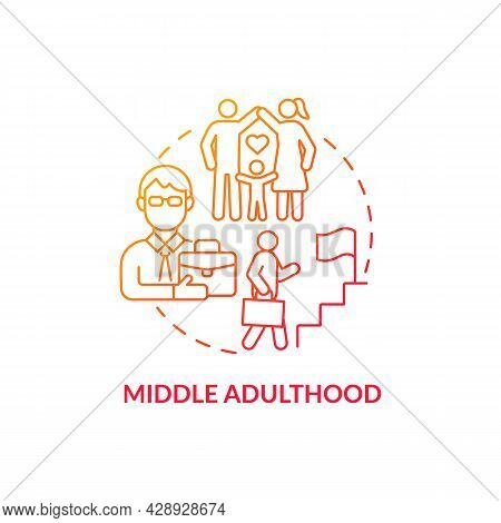 Middle Adulthood Red Concept Icon. Generation Progress. Career Ladder. Genuine Concern For The Evolu