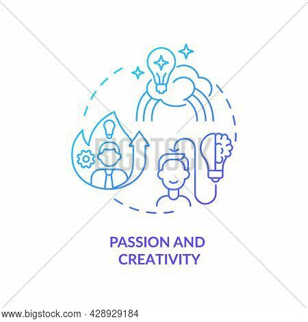 Passion And Creativity Blue Gradient Concept Icon. Self Motivation For Successful Work. Businessman