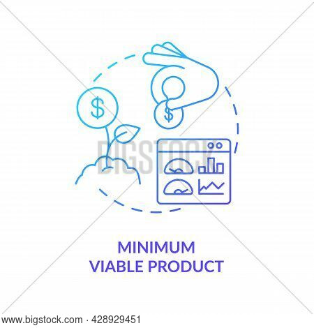 Minimum Viable Product Blue Gradient Concept Icon. Early Business Development. Investment In Company
