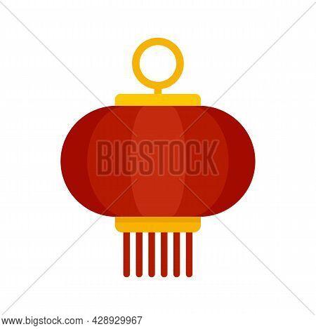 Hanging Chinese Lantern Icon. Flat Illustration Of Hanging Chinese Lantern Vector Icon Isolated On W