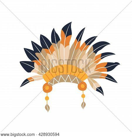 Traditional Native American Feather Headdress. Color Cartoon Warbonnet Icon. Masquerade Costume For
