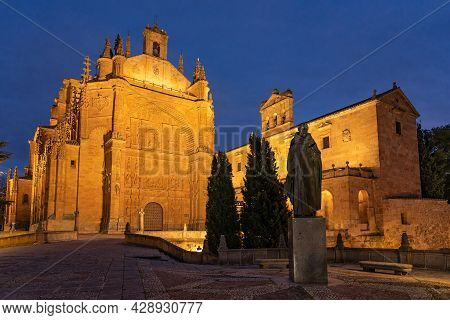 San Esteban Convent Of Salamanca (world Heritage Site By Unesco) At Night In The Old Town, Castilla