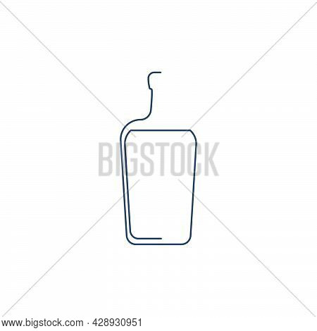 Bottle Continuous Line Liquor In Linear Style On White Background. Solid Black Thin Outline. Modern