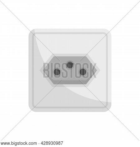 Type J Power Socket Icon. Flat Illustration Of Type J Power Socket Vector Icon Isolated On White Bac