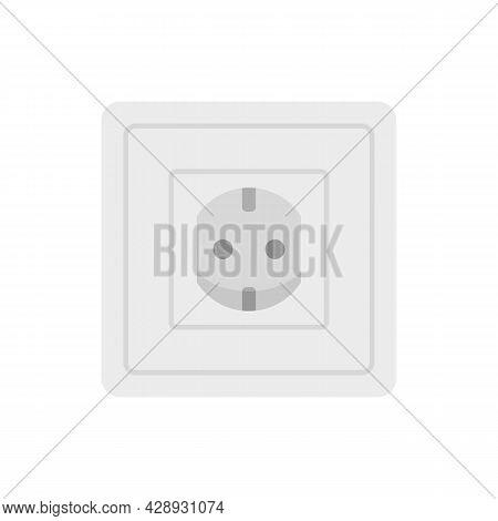 Type F Power Socket Icon. Flat Illustration Of Type F Power Socket Vector Icon Isolated On White Bac