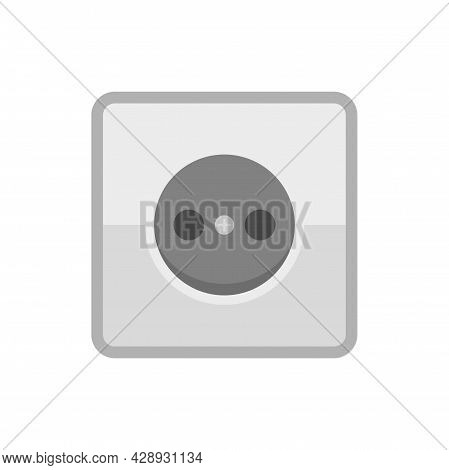 Home Power Socket Icon. Flat Illustration Of Home Power Socket Vector Icon Isolated On White Backgro