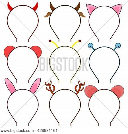 Set Of Headbands, Headdresses, Hearbands With Ears And Horns Animals And Other Characters. Set Of Ic