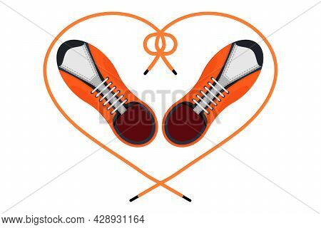 Two Sneakers With A Heart Shaped Shoelaces. Top View. A Pair Of Gym Shoes With Long Laces. Isolated