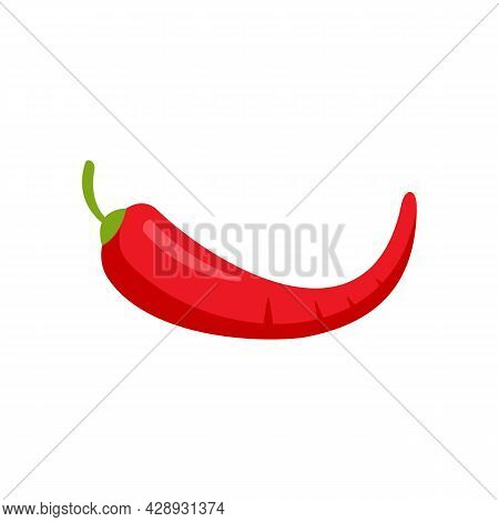 Red Chilli Pepper Icon. Flat Illustration Of Red Chilli Pepper Vector Icon Isolated On White Backgro