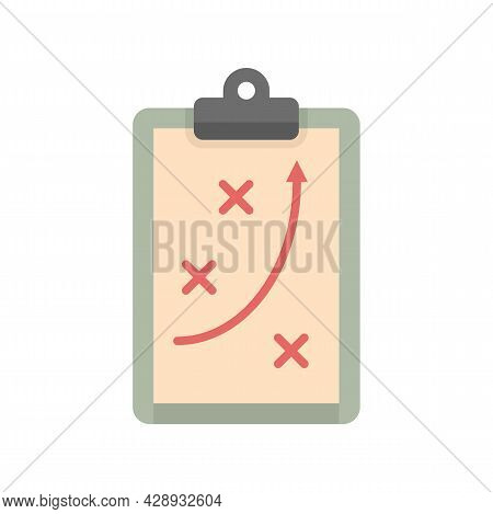 Tactical Clipboard Icon. Flat Illustration Of Tactical Clipboard Vector Icon Isolated On White Backg
