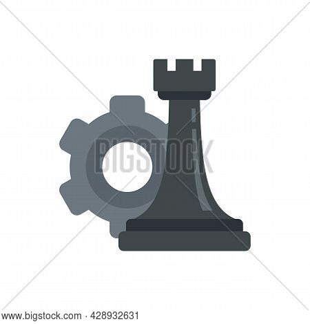 Gear Strategy Rook Icon. Flat Illustration Of Gear Strategy Rook Vector Icon Isolated On White Backg