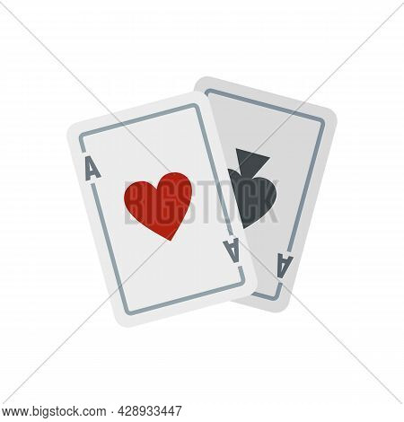 Video Game Playing Cards Icon. Flat Illustration Of Video Game Playing Cards Vector Icon Isolated On
