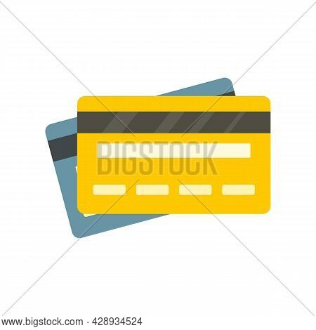 Credit Bank Cards Icon. Flat Illustration Of Credit Bank Cards Vector Icon Isolated On White Backgro