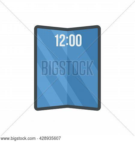 Flexible Smartphone Icon. Flat Illustration Of Flexible Smartphone Vector Icon Isolated On White Bac
