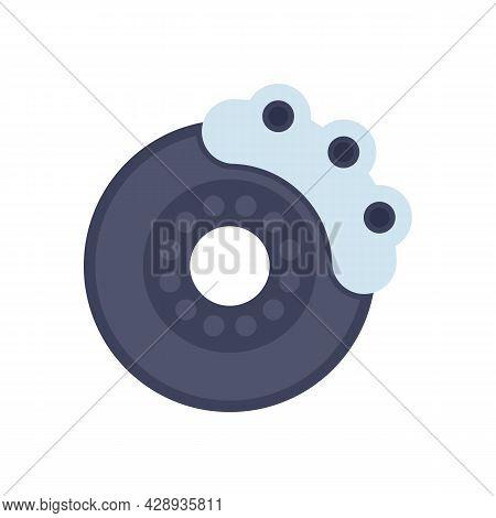 Car Brake Disk Icon. Flat Illustration Of Car Brake Disk Vector Icon Isolated On White Background