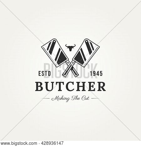 Vintage Butcher Shop With Cross Cleaver Knife And Bull Head Badge Logo Template Vector Illustration