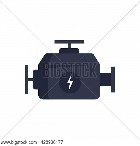Hybrid Car Engine Icon. Flat Illustration Of Hybrid Car Engine Vector Icon Isolated On White Backgro