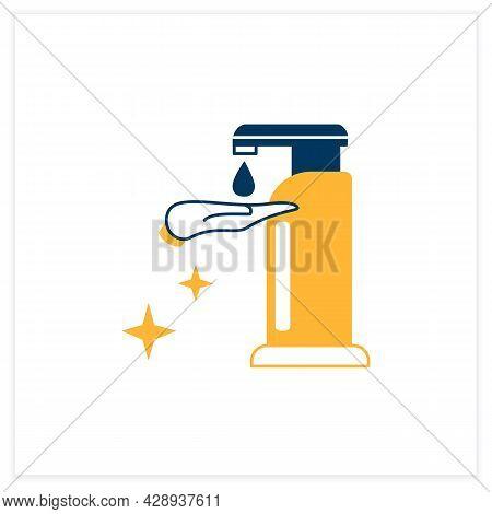 Sanitizer Dispenser Flat Icon. Liquid Soap Or Antibacterial Solution Dispenser Linear Pictogram. Con