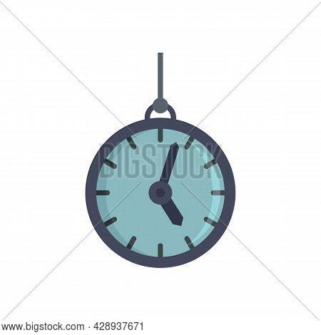 Hypnosis Pendulum Clock Icon. Flat Illustration Of Hypnosis Pendulum Clock Vector Icon Isolated On W