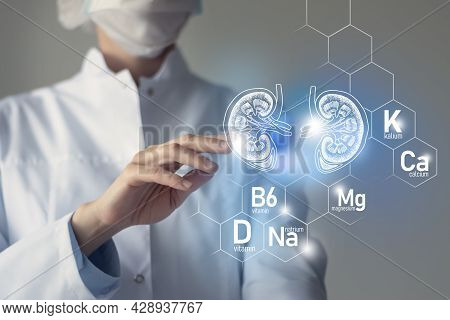 Essential Nutrients For Kidney Health Including Natrium, Magnesium, Vitamin B6, Calcium. Blurred Por