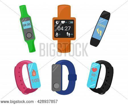 Fitness Bracelets Set. Smartbands Isolated On White Background. Digital Tracker For Fitness, Sport A