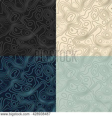 Topography Patterns. Seamless Elevation Map Tiles. Appealing Isoline Background. Radiant Tileable Pa