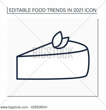 Cheesecake Line Icon. Tender Cream-cheese Dessert. Delicious Dessert. Food Trends Concept. Isolated