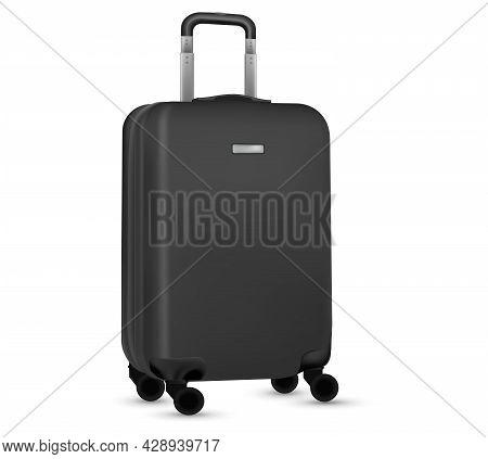 Travel Suitcase Isolated. Set Of Black Plastic Luggage Or Vacation Baggage Bag On White Background.