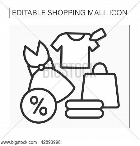 Fashion Boutique Line Icon. Trendy Clothes On Sale. Casual Dresses And Shirts At Discount. Profitabl